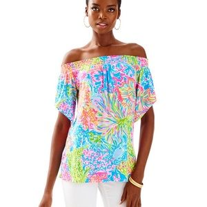 New LILLY PULITZER Almeria Top Lovers Coral L